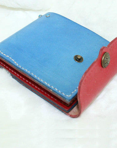 Handmade Hit color vintage leather short ID card photo holder bifold wallet for women girl
