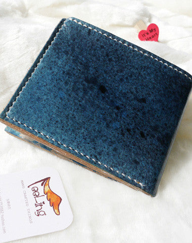 Handmade blue vintage leather short ID card photo holder bifold wallet for women girl