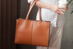 Handmade brown fashion pretty leather large tote bag shoulder bag handbag for women