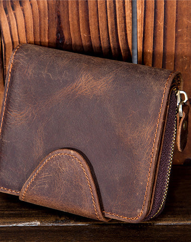 Leather Mens Wallet Short Zipper Bifold Wallet Vintage Wallet for Men