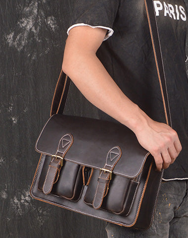Men Leather Messenger Bag Cool Vintage Crossbody Bag Shoulder Bag for men
