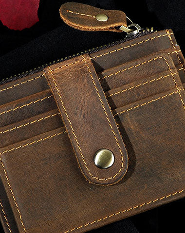 Leather Mens Wallet Cool Slim Front Pocket Wallet Money Clip for Men