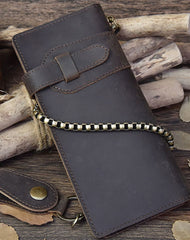 Handmade leather biker trucker wallet leather chain men Vintage Brown long wallet