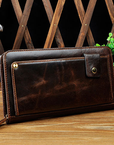 LEATHER MENS Clutch Vintage Coffee Wristlet Bag FOR MEN