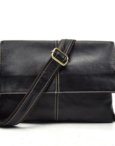 Leather Men Black Messenger Bag Shoulder Bag for Men