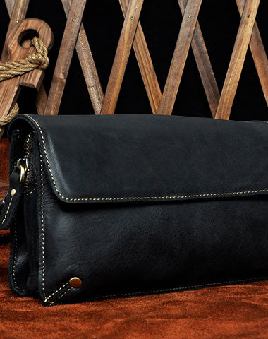 LEATHER MENS Large Brown Black Clutch Wristlet Bag FOR MEN