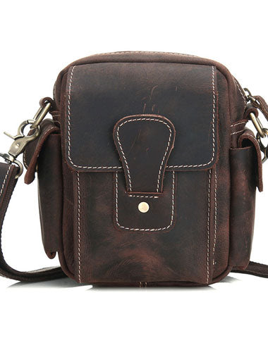 GENUINE LEATHER COOL CHEST BAG SLING BAG CROSSBODY BAG TRAVEL BAG HIKING BAG FOR MENS
