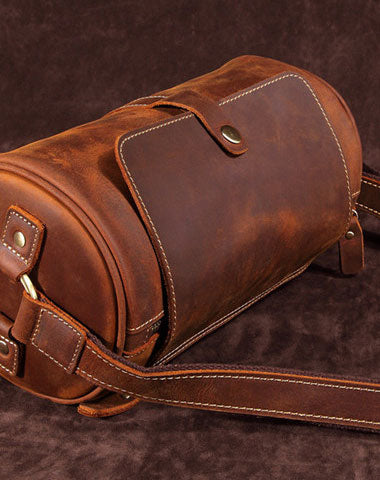 Leather Mens Barrel Shoulder Bag Vintage Brown Travel Bag for men