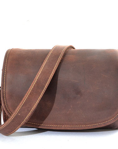 Vintage Leather Saddle Messenger Bag Mens Side Bag Postman Bag For Men