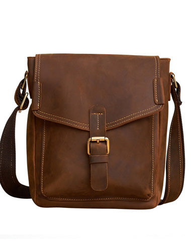 Vintage Leather Small Messenger Bag Shoulder Bag Crossbody For Men
