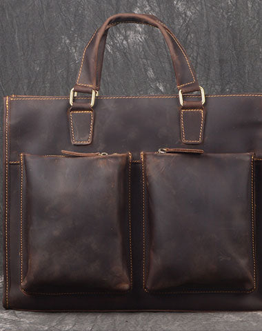Men Leather Briefcase Bag Vintage Handbag Shoulder Bag For Men