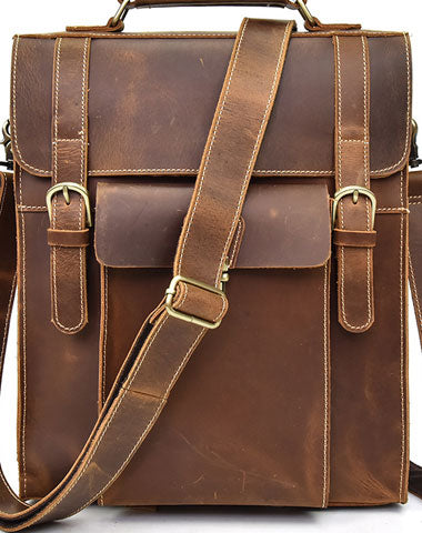 GENUINE LEATHER MENS COOL MESSENGER BAG BACKPACK SLING BAG LARGE BLACK TRAVEL BAG HIKING BAG FOR MEN