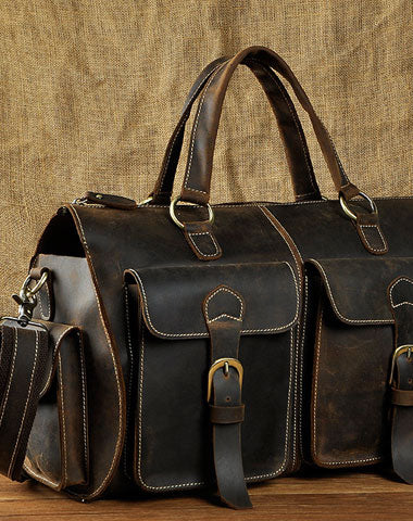 Genuine Leather Mens Vintage Black Coffee Cool Weekender Bag Travel Bag Shoulder Bag for men