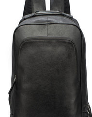 Genuine Leather Mens Cool Backpack Large Black Travel Bag Hiking Bag For Men
