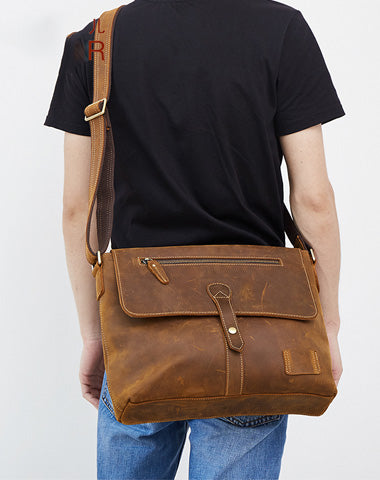 Vintage Leather Men Messenger Bag Shoulder Bag CrossBody Bag For Men