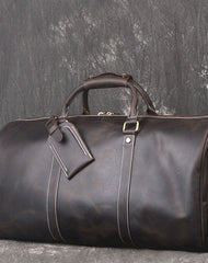 Cool Leather Mens Weekender Bag Travel Bag Duffle Bag for men