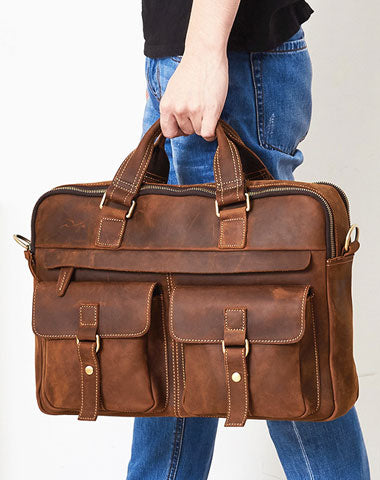 Leather Mens Handbag Briefcase Shoulder Bag Messenger Bag Travel Bag Business Bag for men