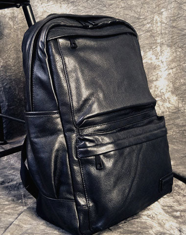 Leather Mens Cool Black Backpack for School Travel Bag Hiking Bag For Men