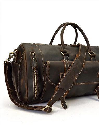 Men Leather Black Coffee Weekender Bag Vintage Travel Bag Duffle Bags Overnight Bag Holdall Bag for men