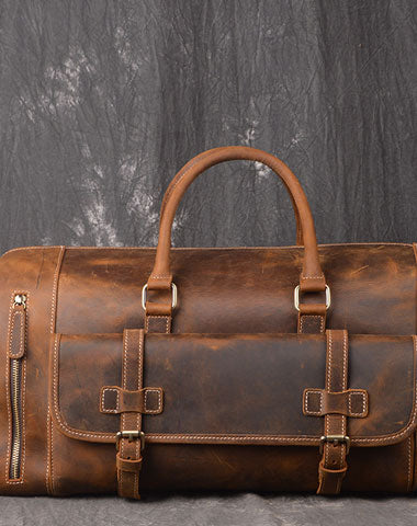 Men Leather Brown Weekender Bag Vintage Travel Bag Duffle Bags Overnight Bag Holdall Bag for men