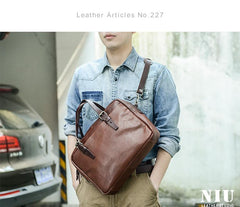 Fashion Leather Mens Cool Black Business Bag 13'' Messenger Bag Briefcase Brown Work Bag Laptop Bag for men