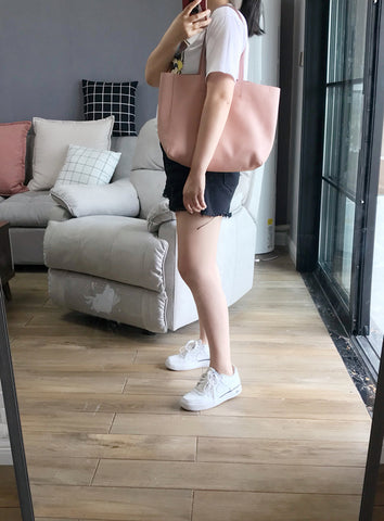 Fashion Womens Pink Leather Tote Bags Pink Shoulder Tote Bags Handbags Totes For Women