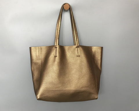 Fashion Womens Gold Leather Oversize Tote Bags Bronze Shoulder Tote Bag Handbag Tote For Women