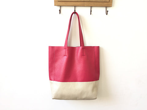 Fashion Womens Rose Red White Leather Vertical Tote Bags Rose Red White Shoulder Tote Bag Handbag Tote For Women