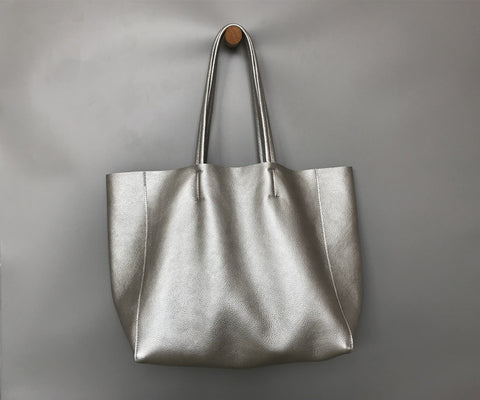 Fashion Womens Silver Leather Oversize Tote Bag Silver Shoulder Tote Bag Silver Handbag Tote For Women