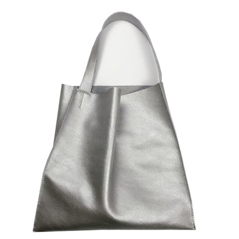 Fashion Womens Silver Leather Vertical Tote Bag Silver Shoulder Tote Bags Handbag Tote For Women