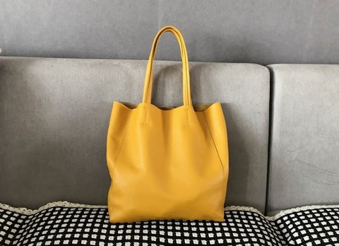 Fashion Womens Yellow Leather Vertical Tote Bags Yellow Shoulder Tote Bags Yellow Handbags Tote For Women