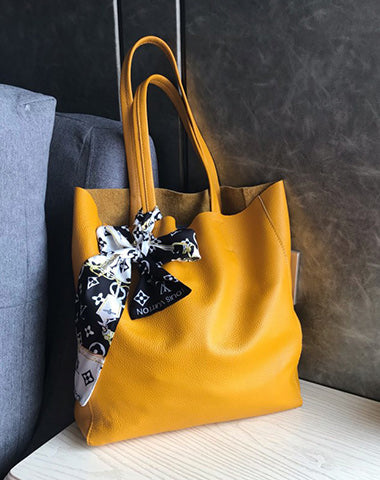 Fashion Womens Yellow Leather Oversize Tote Bag Yellow Shoulder Tote Bag Handbag Tote For Women