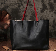 Fashion Brown Large Leather Tote Bag Shopper Bag Big Black Tote Purse For Women
