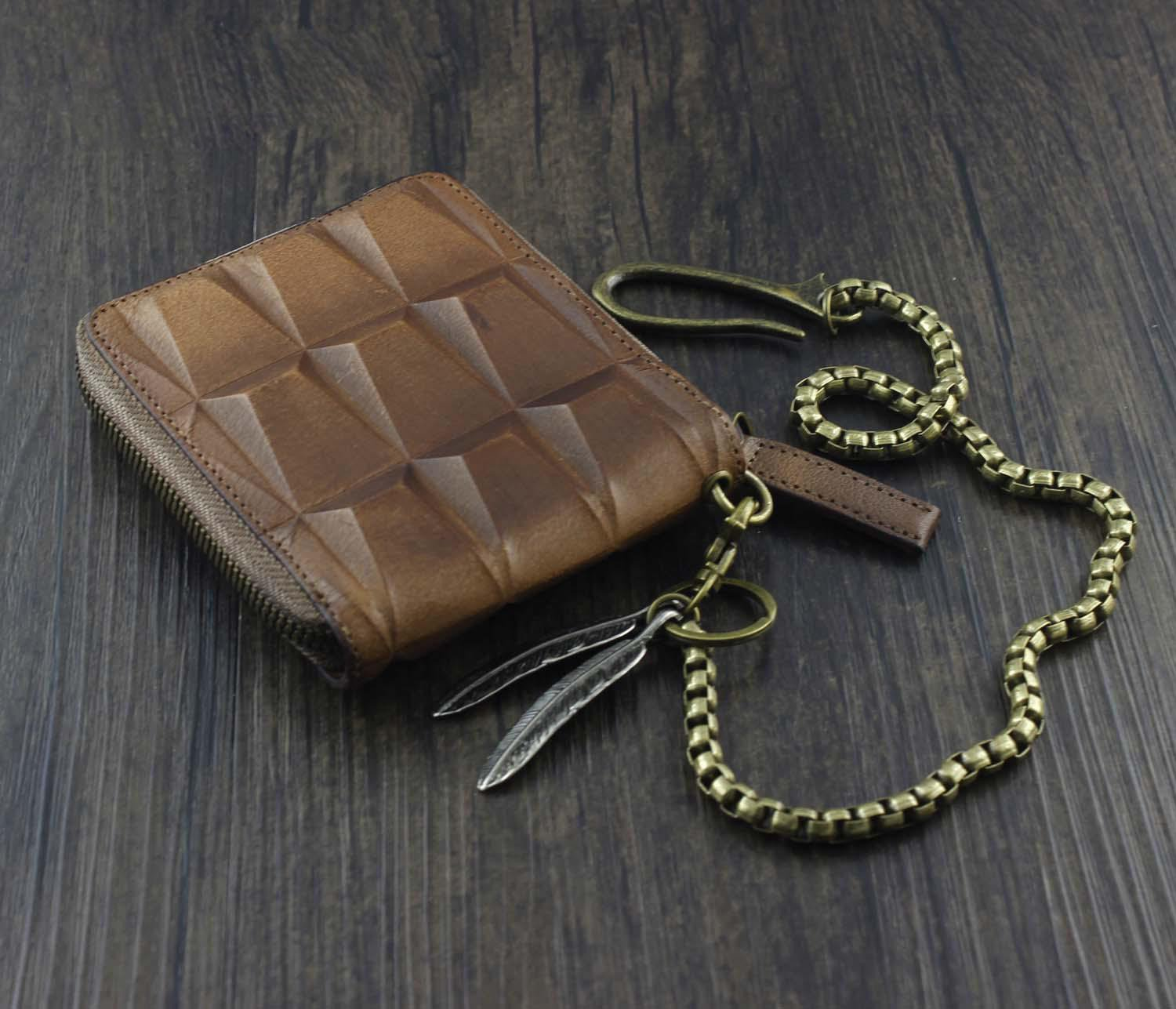Fashion Brown Leather Men's Small Zipper Biker Chain Wallet Wallet with Chain For Men