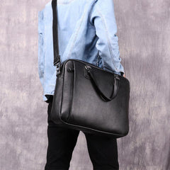 Fashion Black Leather Men's Professional Briefcase Handbag 14'' Computer Briefcase For Men