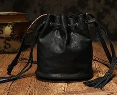 Fashion Leather Brown Bucket Shoulder Bag Barrel Purse With Tassels For Women