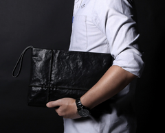 Fashion Leather Men's Black Envelope Clutch Wristlet Clutch Business Clutch For Men