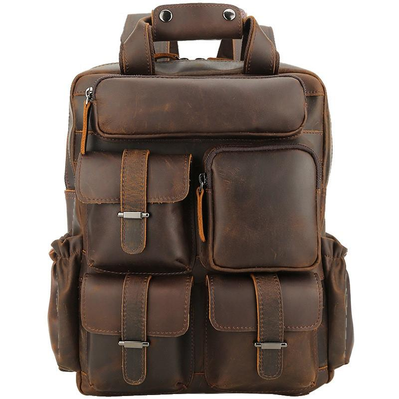 Vintage Leather Men's Travel Backpack 14inch Laptop Backpack School Backpack For Men