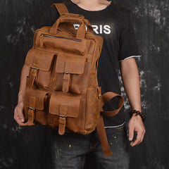 Vintage Cool Leather Men's 15inch Laptop Backpack Travel Backpack School Backpack For Men