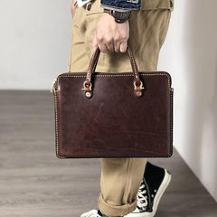 Fashionable Handmade Leather Mens Cool Small Business Bag Messenger Bag Briefcase Work Bags Laptop Bag for men