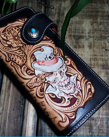Handmade leather Biker trucker chain long floral skull wallet leather men Black Carved Tooled wallet