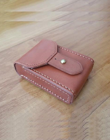 Cool Brown Handmade Leather Mens Cigarette Case Cigarette Holder Case with Belt Loop for Men