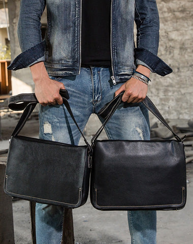 Cool Leather Black Mens Side Bag Messenger Bags Vintage Courier Bag for Men