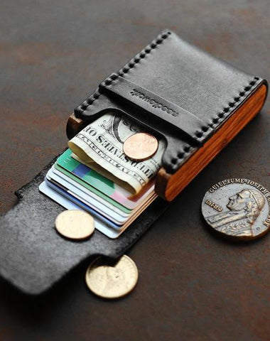Cool Wooden Leather Mens Black Wallet Small Card Holder Black Coin Wallet for Men