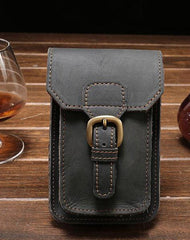 Leather Mens Cigarette Case with Belt Loop Cell Phone Holster Belt Pouch for Men
