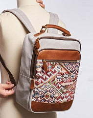 Vintage Canvas Gray Mens Backpack Canvas Travel Bag Canvas School Bag for Men