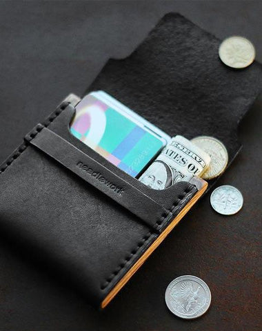 Cool Wooden Leather Black Mens Wallet Small Card Holder Coin Wallet for Men
