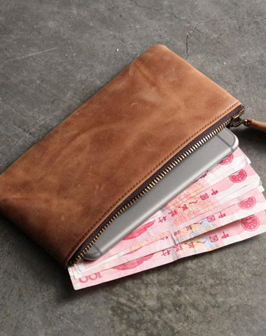 Vintage LEATHER Womens Long Clutch Wallet Zipper Slim Long Wallet FOR Women