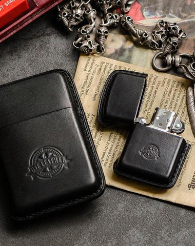 Handmade Black Leather Mens 10pcs Cigarette Holder Case Cool Custom Cigarette Case for Men