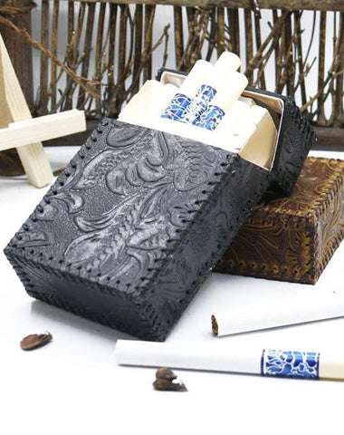 Cool Handmade Leather Mens Engraved Floral Cigarette Holder Case for Men